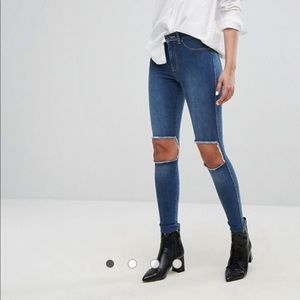 Dr Denim Mid Rise Superskinny Jeans with Knee Cut